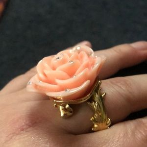 Betsey Johnson resin coral and rhinestone ring 8